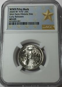 2020-W NGC MS65 TALLGRASS WEST POINT MINT QUARTER V75 WPP 65 EARLY RELEASES