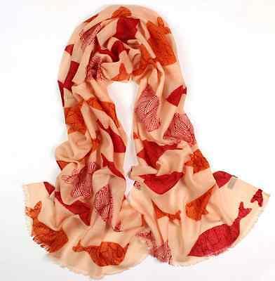 "women 100% wool scarf 72x24"" Long Shawl Wrap Large pashmina beige pink W042-Z"