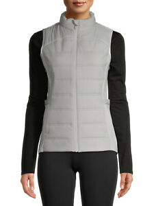 Avia Active Quilted Vest Women's Size Medium 8-10 Gray Zip Up Sleeveless Jacket