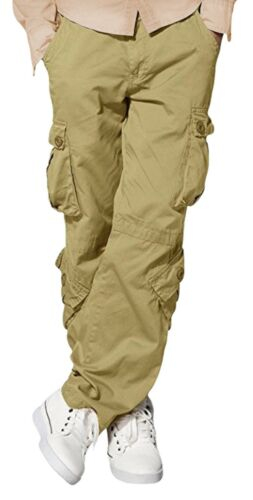 Mens Match Cargo Pants Solid Military Army Combat Style Cotton Workwear Trousers