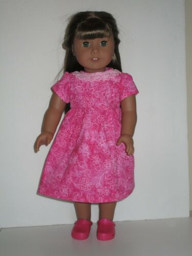 """Pink Flowers /& Butterflies Dress for 18/"""" American Girl Doll Clothes"""