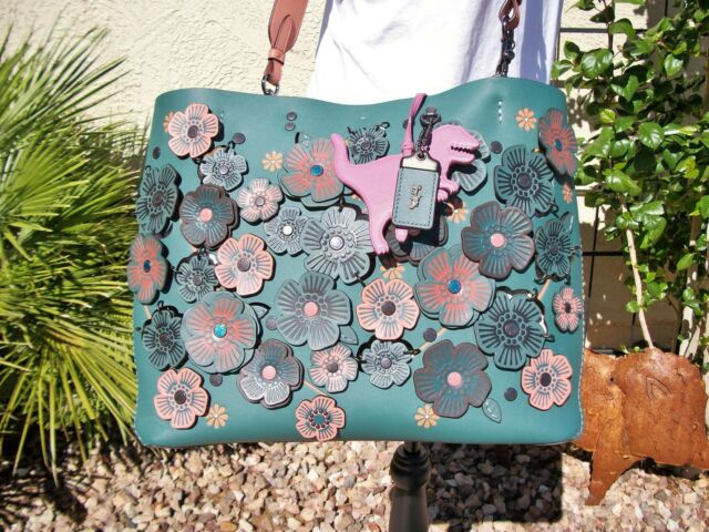 756d1f2ba2 Coach Teal Rogue Linked Tea Rose Tote Bag 87378 She Is