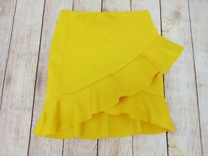 ASOS-Women-039-s-Asymmetric-Ruffle-Mini-Skirt-US-6-Yellow-NWT