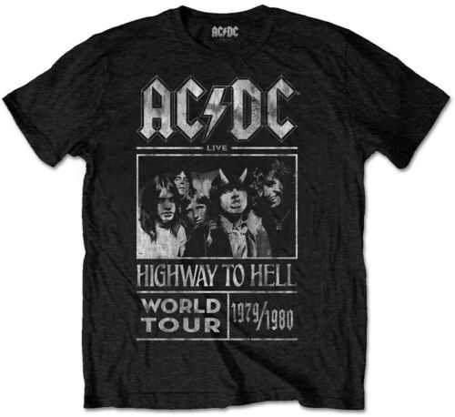 Black NEW /& OFFICIAL! T-Shirt AC//DC /'Highway To Hell World Tour 1979//1980/'