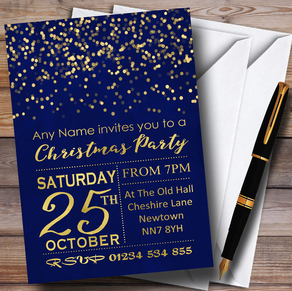 Blau With Gold Confetti Personalised Christmas Party Invitations