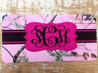 Realtree Pink Camo Personalized License Plate Car Tag Initials Custom Camo