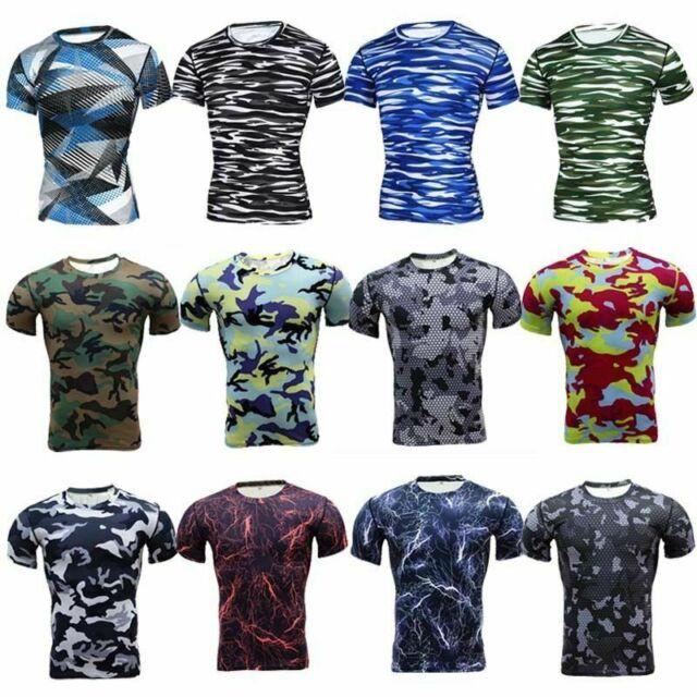 Mens Dri-fti Short Sleeve Camo Compression Workouts Shirts Blue
