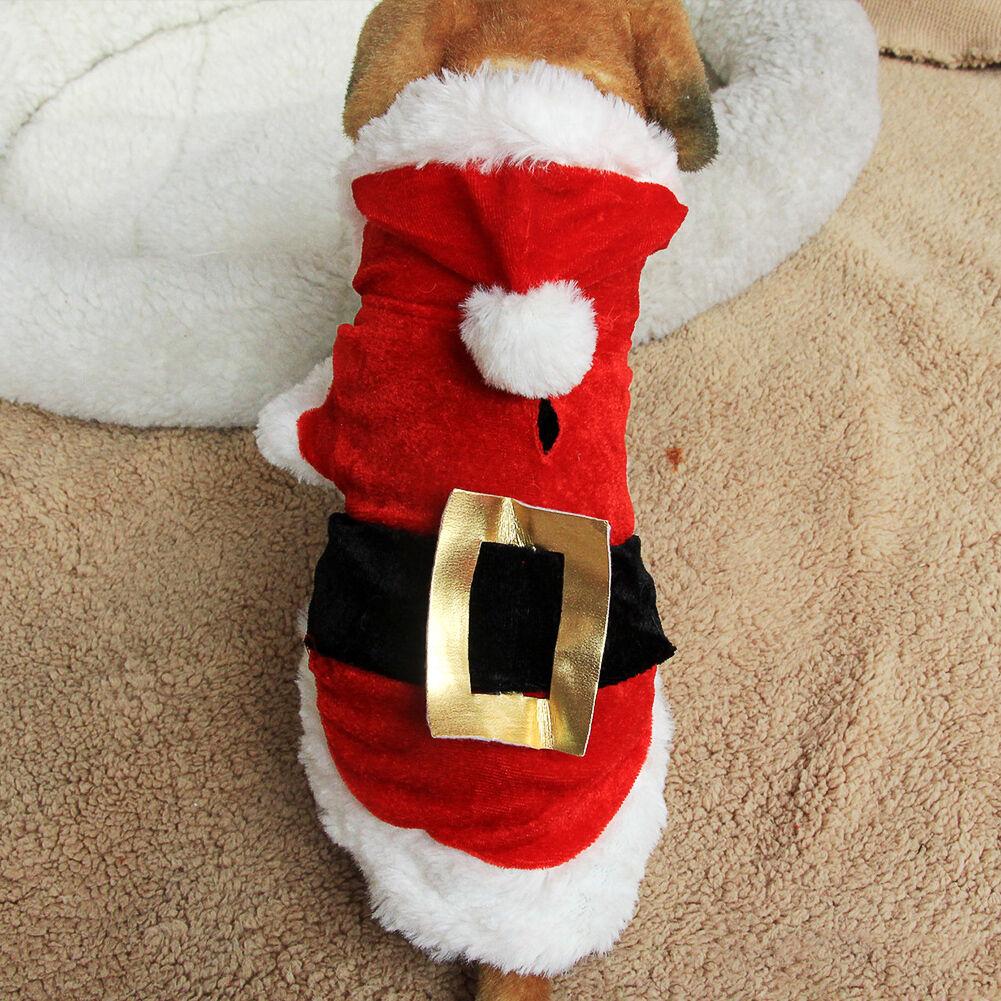 Haustier Welpen Weihnachten Kleidung Weihnachtsmann Kostüm Outwear Fell Geschenk  | Billig ideal