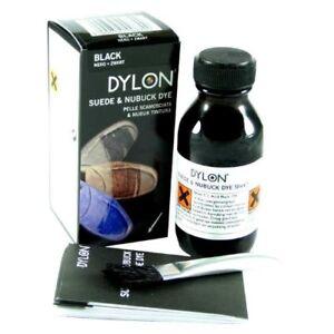 Dylon Tinte Negro Zapato De Gamuza Zapatos bota de Cepillo Aplicador De Tela Nobuck 50 Ml hágalo usted mismo UK