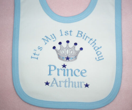 Personalizado 1 Primer Cumpleaños Babero Princess Prince Twins twincess o twince