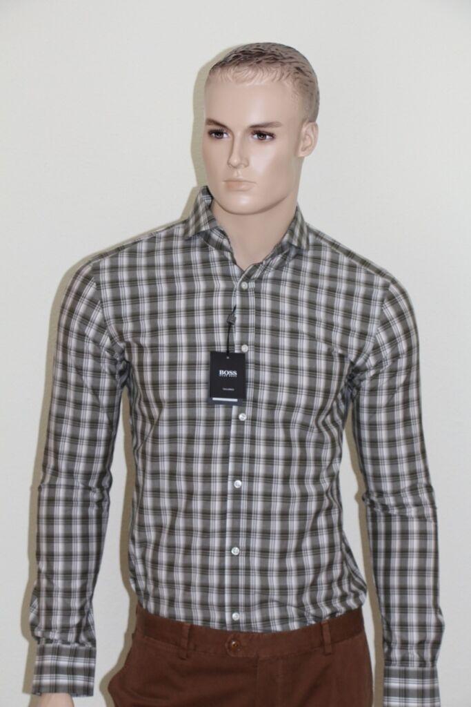 Hugo Boss tailorojo camisa, mod. Swain, talla 40, slim fit,  Open verde  100% a estrenar con calidad original.