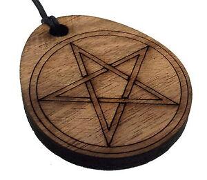 Sanft Walnuss Pentagramm Wieder Aufbereitetes Hölzerne Lasergeschnitten Anhänger Verkaufsrabatt 50-70% Devotionalschmuck