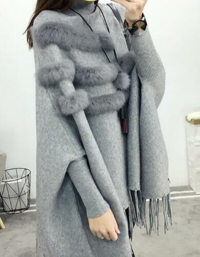 Womens High Neck Faux Fur Knitted Sweater Tassel Bat Sleeves Poncho Outwear F654