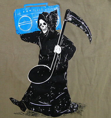 The Grim Reaper Music Death Scythe Party Fun Boombox Hip Hop Punk Men T-shirt M
