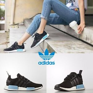 Adidas-Original-NMD-R1-Running-Sneakers-Black-Black-Blue-BY9951-SZ-4-11-Limited