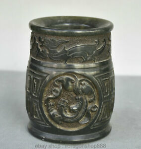 pierre-naturelle-chinoise-Shoushan-bete-sculptee-pi-Xiu-pinceau-Pot-Vase-Crayon