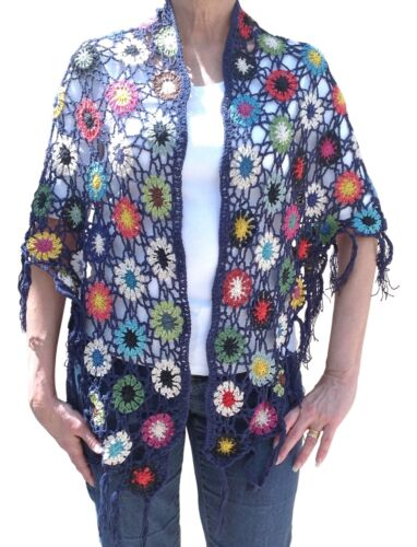 Fair Trade Baumwolle Häkel Blume Hippy Boho Fest Schal
