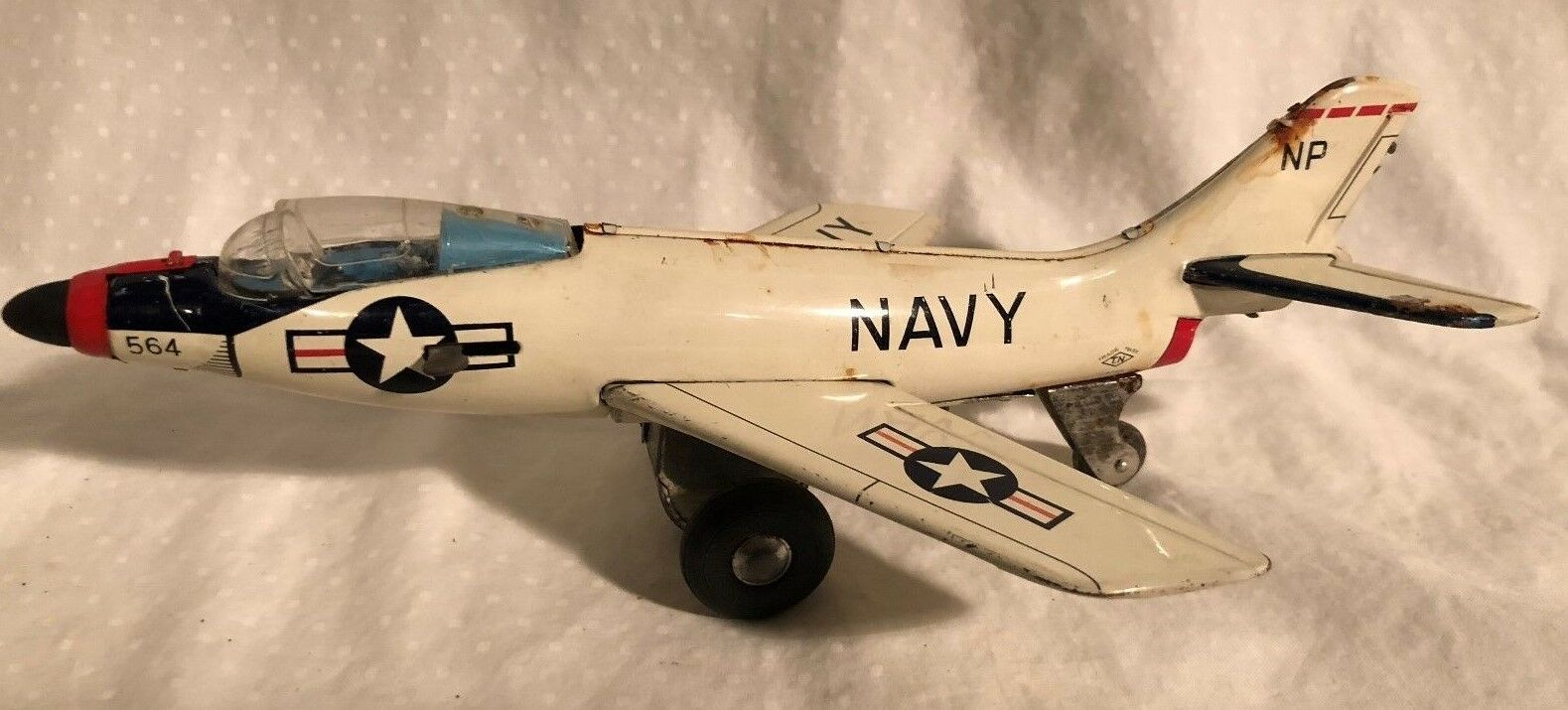 Nomura T.N. Friction Navy Jet Fighter Tin Toy Ejection Seat Opening Canopy