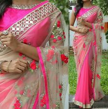 fashion online shopping Net n Georgette Embroidered saree with Mirror work lace
