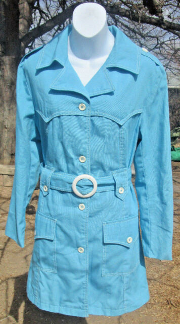 Vintage Great Six Designed by GAE DRENCH TRENCH COAT JACKET Size M Blue Short