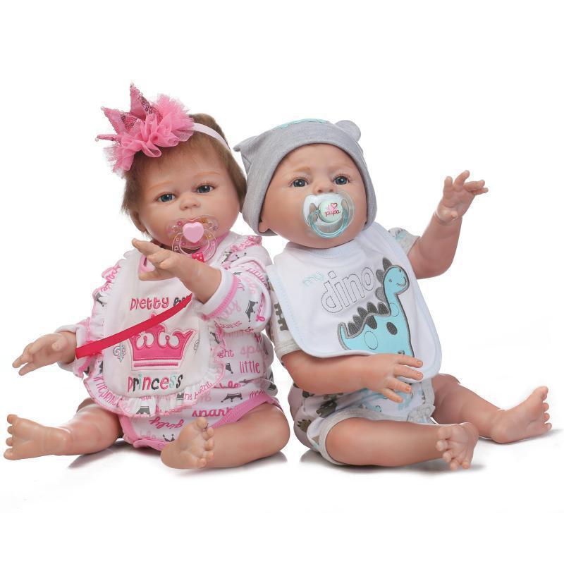 20  Hecho a Mano Gemelos realista Reborn Bebé Muñeca realista muñeca de juguete del niño niña niño