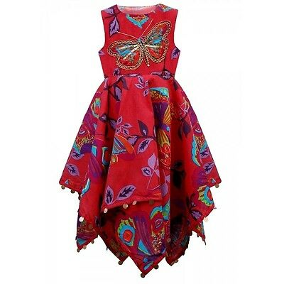 Kids Girls childrens Summer  Sequinned Butterfly Handkerchief Dress 2-10 Years