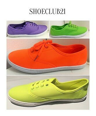 C&A Women Canvas Lace Up Round Toe Sneakers Flats Boat Driving Shoe Neon Color
