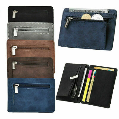 PU Leather Money Clip Wallet Mens ID Wallet Slim Credit Card Holder