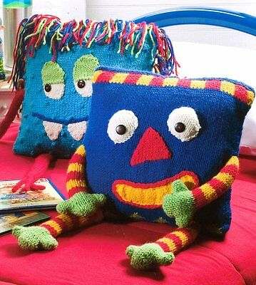 """Monsters ~ Novelty Cushions 14""""  Childrens Room~  Chunky Wool Knitting Pattern"""