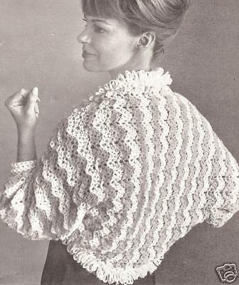 Vintage Crochet PATTERN to make Boxy Cropped Bed Jacket Sweater Ribbon