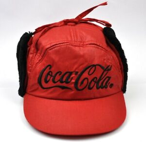Coca-Cola-Coke-Trapper-Hat-Warm-Cap-Peaked-Cap-Earmuffs-Cap-Red-G54