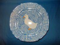 11 1/2 Blue Spongeware Duck Plate Platter Low Serving Bowl Dish