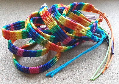 Hippie Bracelet Rainbow Boho Friendship Surfer Woven Cord Tie Knot Festival