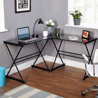 L Shape Office Desk Metal Glass Top Computer Workstation Corner Gaming Table