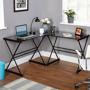 shape office desk metal glass top computer workstation corner gaming