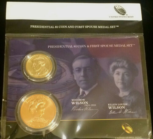 2013 WOODROW WILSON & ELLEN NOT EDITH FIRST SPOUSE MEDAL $1 Presidential SET