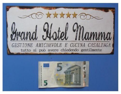 """Targa vintage /""""Grand Hotel Mamma/"""" cinque 5 stelle metallo cm 25x11"""
