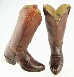 4b073ee01f6 Details about J. CHISHOLM Style#911 Brown Leather Western Men's Cowboy  Boots US 10D Made USA