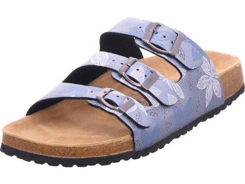 Softwaves Damen Bio Damen flach Pantolette Sandalen Hausschuhe blau