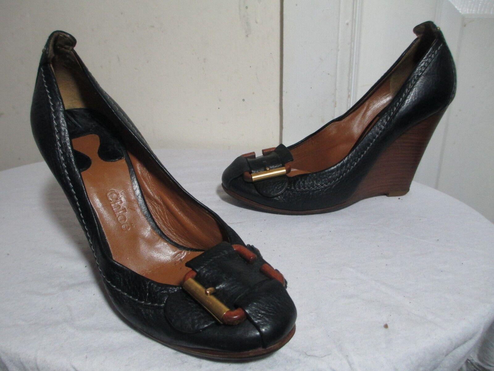 Chloe para Mujer de cuña de de de cuero negro Zapatos EE. UU. 9  comprar barato