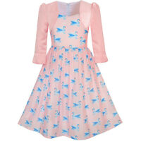 Sunny Fashion Girls Dress 2-in-1 Bolero Elegant Swan Party Dress Age 4-10 Years