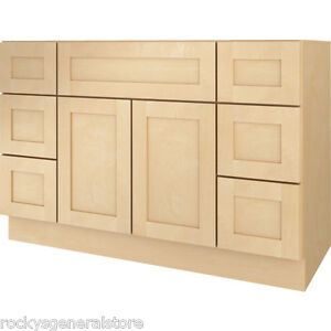 "Bathroom Vanity Base bathroom vanity drawer base cabinet natural maple shaker 48"" wide"