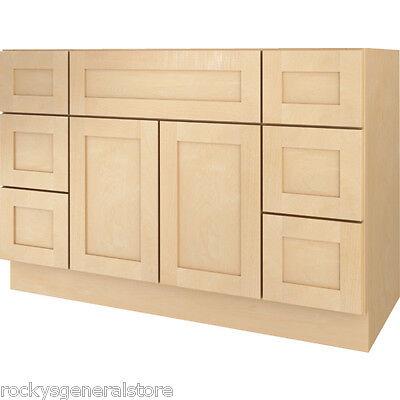 "Bathroom Vanity Drawer Base Cabinet Natural Maple Shaker 48"" Wide x 21"" Deep New"