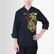 New Chef Coat Fashion Dragon Pattern Cook Jacket Unisex Work Uniform Outerwear