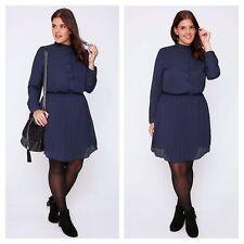 Praslin @ Simply Be Plus Size 22 Navy All-Round Pleat Skirt Skater DRESS Stylish