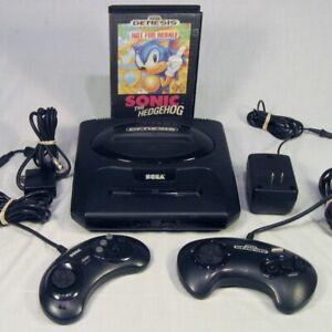 Vtg-Sega-Genesis-Console-System-Model-2-MK-1631A-2-Controllers-amp-Sonic-Hedgehog