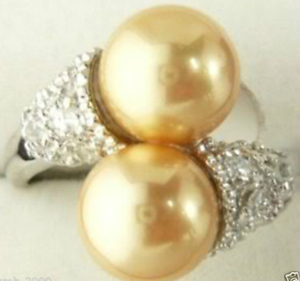 8 Plus noble 18K plaqué or Golden Sud Shell Sea Pearl Gemstone Ring Taille