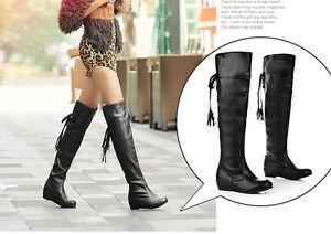 stivali stivaletti donna stringati alla coscia tacco basso 3.5 nero marrone 8351