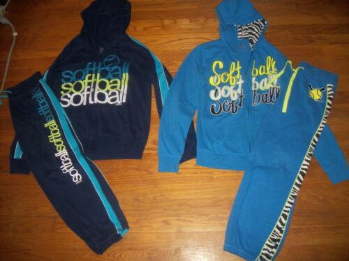 JUSTICE 2 PC SOFTBALL HOODIE /& SWEATPANTS SET GIRLS ACTIVE OUTFIT SZ 12 14