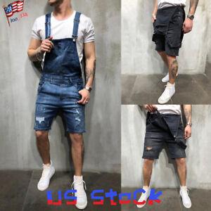 Men-Jumpsuits-Distressed-Denim-Ripped-Overalls-Bib-Moto-Jean-Half-Pants-Slim-US